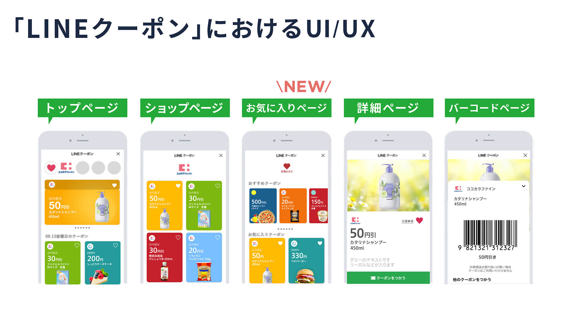 「LINEクーポン」におけるUI/UX 図表